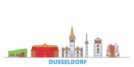 Germany, Dusseldorf cityscape line vector. Travel flat city landmark, oultine illustration, line world icons Illustration