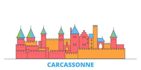 France, Carcassonne Landmark cityscape line vector. Travel flat city landmark, oultine illustration, line world icons