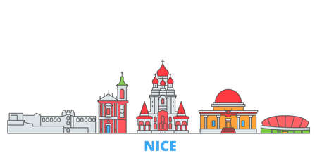 France, Nice cityscape line vector. Travel flat city landmark, oultine illustration, line world icons