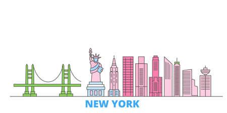 United States, New York City cityscape line vector. Travel flat city landmark, oultine illustration, line world icons 矢量图像