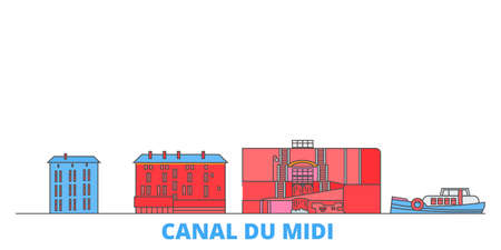France, Canal Du Midi cityscape line vector. Travel flat city landmark, oultine illustration, line world icons