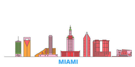United States, Miami cityscape line vector. Travel flat city landmark, oultine illustration, line world icons Ilustración de vector