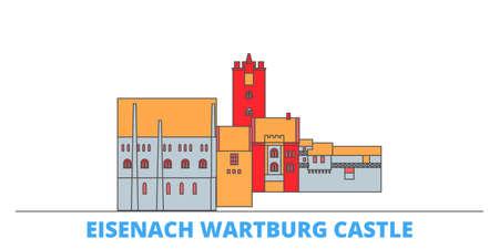 Germany, Eisenach Wartburg Castle cityscape line vector. Travel flat city landmark, oultine illustration, line world icons Illusztráció