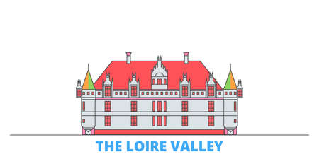 France, The Loire Valley Landmark cityscape line vector. Travel flat city landmark, oultine illustration, line world icons