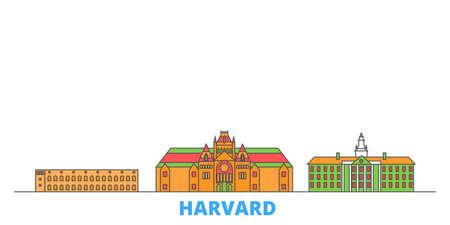 United States, Harvard cityscape line vector. Travel flat city landmark, oultine illustration, line world icons Vector Illustration