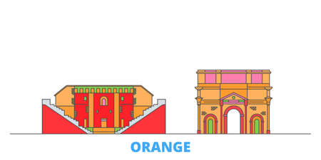 France, Orange cityscape line vector. Travel flat city landmark, oultine illustration, line world icons