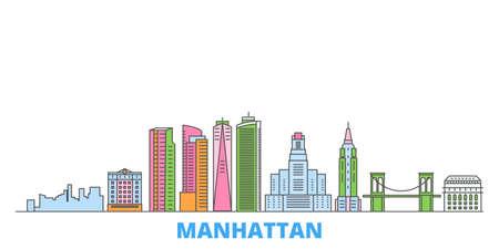United States, New York Manhattan cityscape line vector. Travel flat city landmark, oultine illustration, line world icons