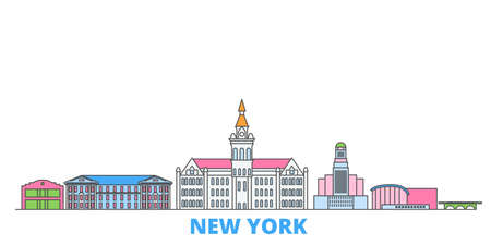 United States, New York Buffalo cityscape line vector. Travel flat city landmark, oultine illustration, line world icons