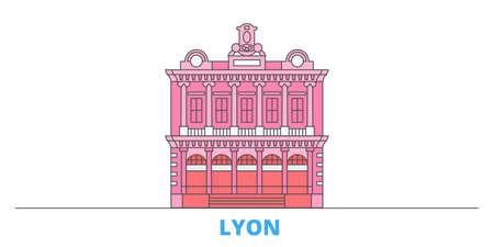 France, Lyon Landmark cityscape line vector. Travel flat city landmark, oultine illustration, line world icons Illusztráció
