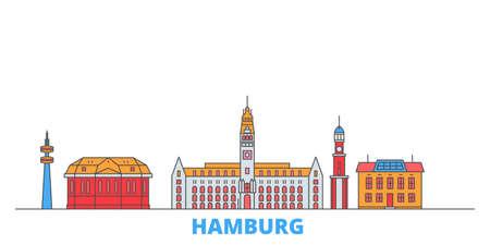 Germany, Hamburg cityscape line vector. Travel flat city landmark, oultine illustration, line world icons