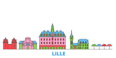 France, Lille cityscape line vector. Travel flat city landmark, oultine illustration, line world icons