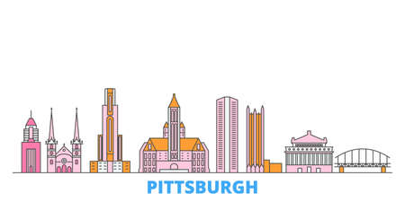 United States, Pittsburgh cityscape line vector. Travel flat city landmark, oultine illustration, line world icons