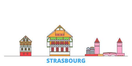 France, Strasbourg City cityscape line vector. Travel flat city landmark, oultine illustration, line world icons