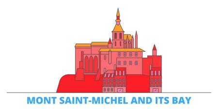 France, Mont Saint Michel And Its Bay Landmark cityscape line vector. Travel flat city landmark, oultine illustration, line world icons Illusztráció