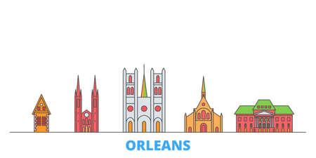 France, Orleans cityscape line vector. Travel flat city landmark, oultine illustration, line world icons