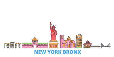 United States, New York Bronx cityscape line vector. Travel flat city landmark, oultine illustration, line world icons