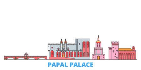 France,Papal Palace, Episcopal Ensemble Avignon Bridge cityscape line vector. Travel flat city landmark, oultine illustration, line world icons