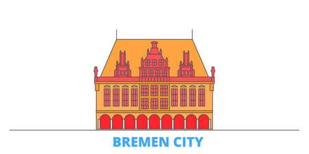 Germany, Bremen City cityscape line vector. Travel flat city landmark, oultine illustration, line world icons