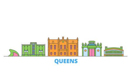 United States, New York Queens cityscape line vector. Travel flat city landmark, oultine illustration, line world icons 矢量图像