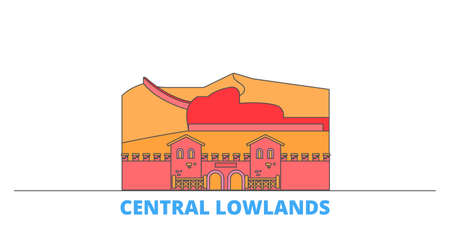 Germany, Central Lowlands cityscape line vector. Travel flat city landmark, oultine illustration, line world icons