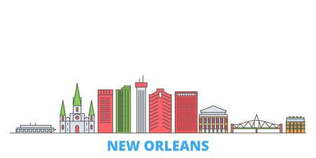 United States, New Orleans cityscape line vector. Travel flat city landmark, oultine illustration, line world icons Illusztráció