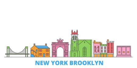 United States, New York Brooklyn cityscape line vector. Travel flat city landmark, oultine illustration, line world icons 矢量图像