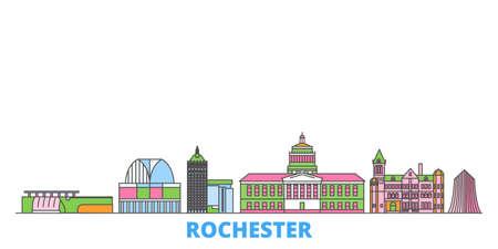 United States, New York Rochester cityscape line vector. Travel flat city landmark, oultine illustration, line world icons