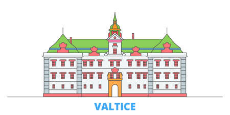 Czech Republic, Valtice cityscape line vector. Travel flat city landmark, oultine illustration, line world icons