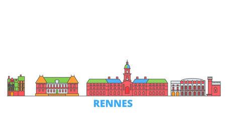 France, Rennes cityscape line vector. Travel flat city landmark, oultine illustration, line world icons