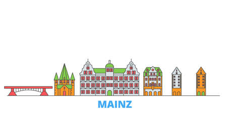 Germany, Mainz cityscape line vector. Travel flat city landmark, oultine illustration, line world icons