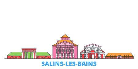 France, Salins Les Bains cityscape line vector. Travel flat city landmark, oultine illustration, line world icons