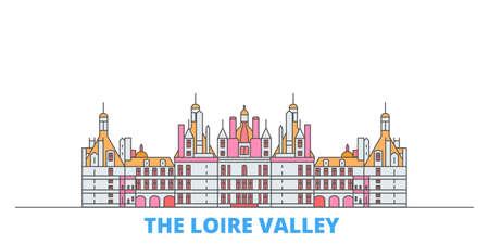 France, The Loire Valley cityscape line vector. Travel flat city landmark, oultine illustration, line world icons