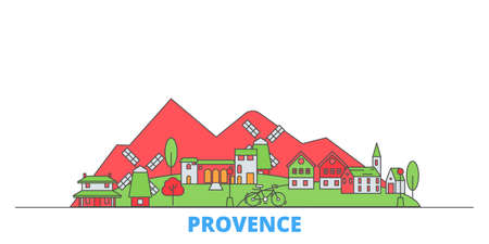 France, Provence cityscape line vector. Travel flat city landmark, oultine illustration, line world icons