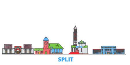 Croatia, Split cityscape line vector. Travel flat city landmark, oultine illustration, line world icons