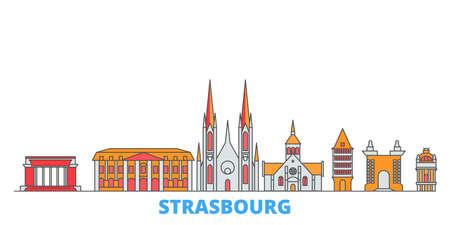 France, Strasbourg cityscape line vector. Travel flat city landmark, oultine illustration, line world icons