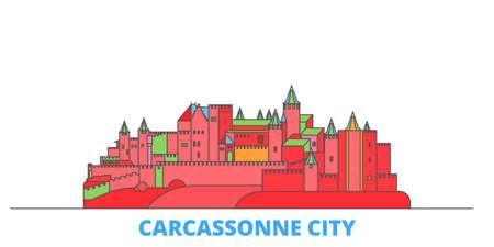 France, Carcassonne City cityscape line vector. Travel flat city landmark, oultine illustration, line world icons