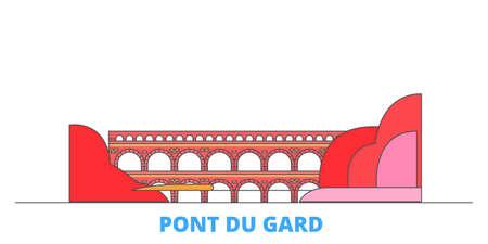 France, Pont Du Gard cityscape line vector. Travel flat city landmark, oultine illustration, line world icons