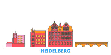 Germany, Heidelberg cityscape line vector. Travel flat city landmark, oultine illustration, line world icons Illustration