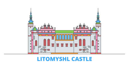Czech Republic, Litomysl Castle cityscape line vector. Travel flat city landmark, oultine illustration, line world icons