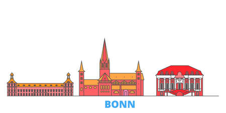 Germany, Bonn cityscape line vector. Travel flat city landmark, oultine illustration, line world icons Illustration