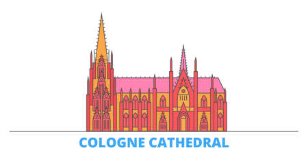 Germany, Cologne Cathedral cityscape line vector. Travel flat city landmark, oultine illustration, line world icons