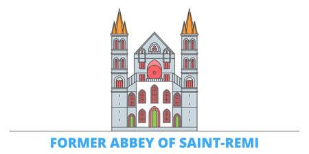France, Former Abbey Of Saint Remi Landmark cityscape line vector. Travel flat city landmark, oultine illustration, line world icons