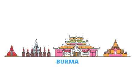 Burma cityscape line vector. Travel flat city landmark, oultine illustration, line world icons