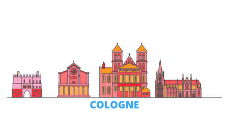 Germany, Cologne cityscape line vector. Travel flat city landmark, oultine illustration, line world icons