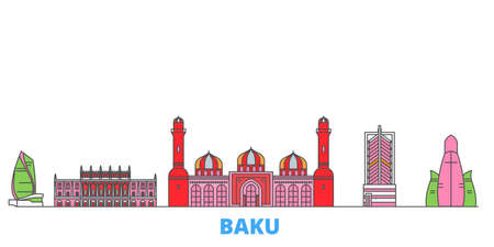 Azerbaijan, Baku cityscape line vector. Travel flat city landmark, oultine illustration, line world icons