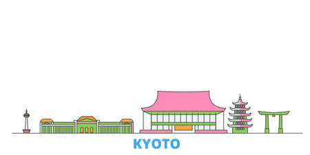 Japan, Kyoto cityscape line vector. Travel flat city landmark, oultine illustration, line world icons 일러스트