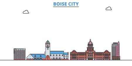 United States, Boise City cityscape line vector. Travel flat city landmark, oultine illustration, line world icons Ilustração