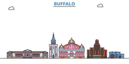 United States, Buffalo cityscape line vector. Travel flat city landmark, oultine illustration, line world icons