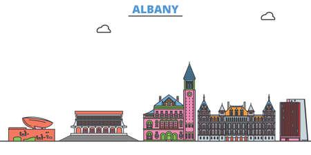 United States, Albany cityscape line vector. Travel flat city landmark, oultine illustration, line world icons
