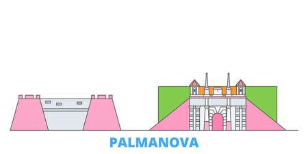 Italy, Palmanova cityscape line vector. Travel flat city landmark, oultine illustration, line world icons